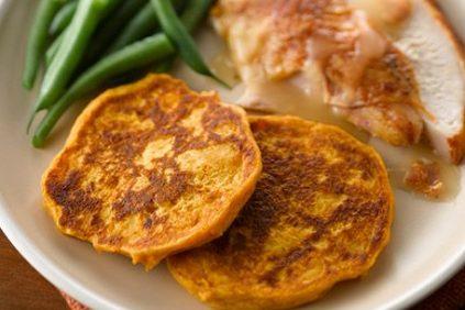 photo of prepared Sweet Potato Pancakes with Bacon Gravy recipe