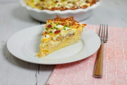 photo of prepared Bacon and Goat Cheese Hash Brown Quiche recipe