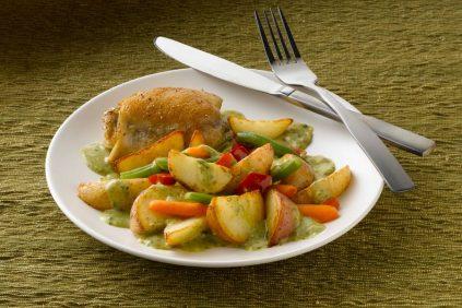 photo of prepared Easy Chicken and Pesto Potato Skillet recipe