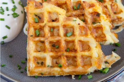 photo of prepared Egg & Cheese Hash Brown Waffles recipe