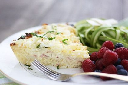 photo of prepared Hash Brown Quiche with Ham, Asparagus and Swiss recipe