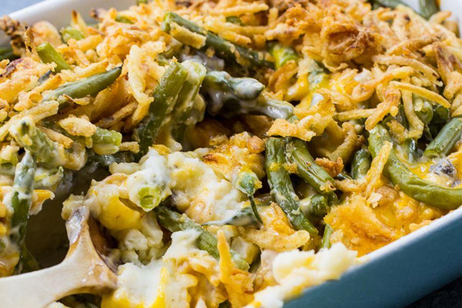 photo of prepared Mashed Potato Green Bean Casserole recipe