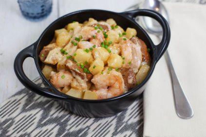 photo of prepared One-Pot Fresh Gulf Shrimp, Andouille, and Potatoes recipe