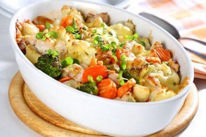 photo of prepared Roasted Potato and Vegetable Alfredo Casserole recipe