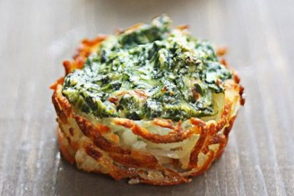 photo of prepared Spinach and Goat Cheese Hash Brown Nests recipe
