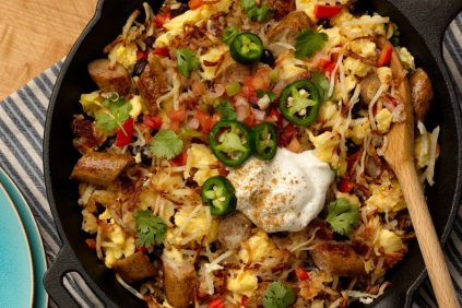 photo of prepared Tex-Mex Chicken Sausage & Egg and Hash Brown Skillet recipe